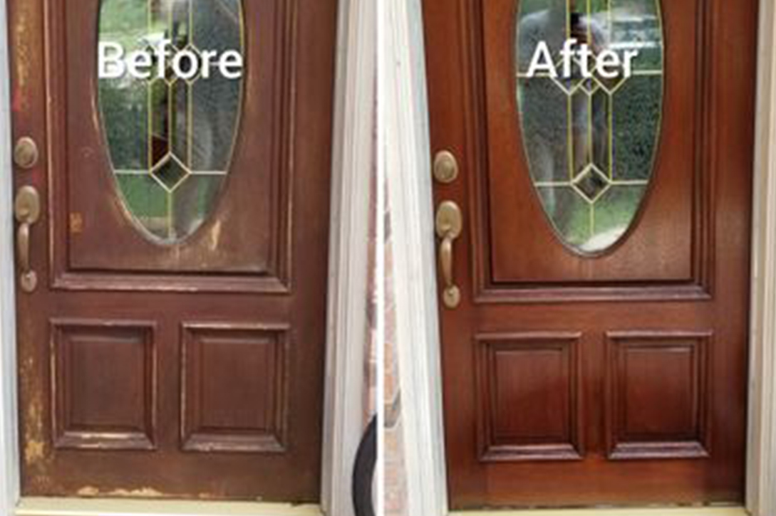 Before - After Front Door Refinishing Henderson Nevada
